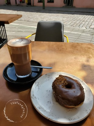 Mocha and chocolate donut
